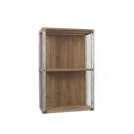 Διακοσμητικό ξύλινο σταντ - ράφι με συρμάτινο πλέγμα 40x18x61.5cm