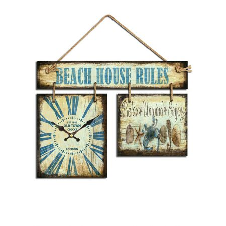Διακοσμητικό ρολόι-πινακίδα BEACH HOUSE RULES 37x48cm