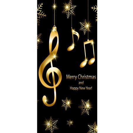 Διακοσμητική Χριστουγεννιάτικη αφίσα με νότες 90x200cm