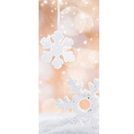 Διακοσμητική Χριστουγεννιάτικη αφίσα - νιφάδες και χιόνι 90x200cm