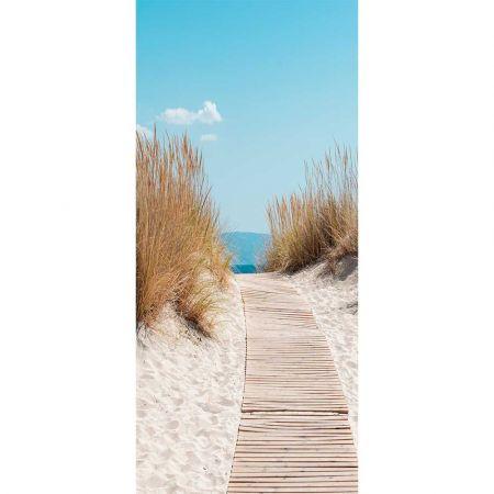Διακοσμητική αφίσα με παραλία και Pampas Grass 90x200cm