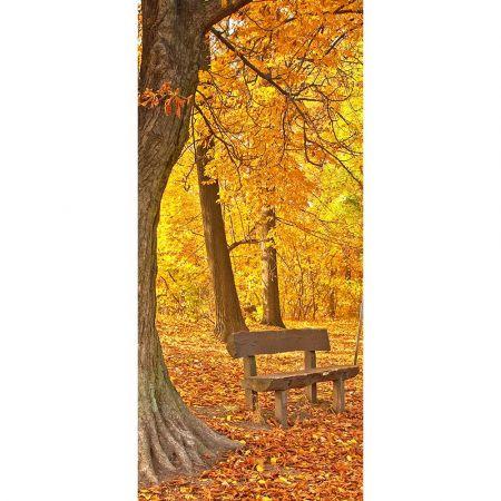 Διακοσμητική αφίσα με δάσος και παγκάκι 90x200cm