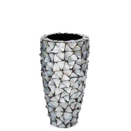 Γλάστρα-Βάζο SHELL με κοχύλια Ασημί-Μπλε 40x77cm