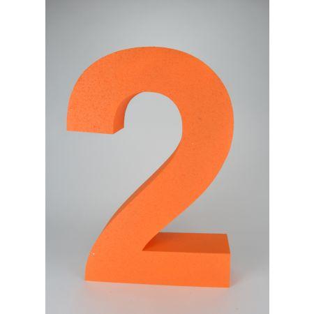 XL Διακοσμητικός αριθμός 2 Πορτοκαλί 59x39x10cm