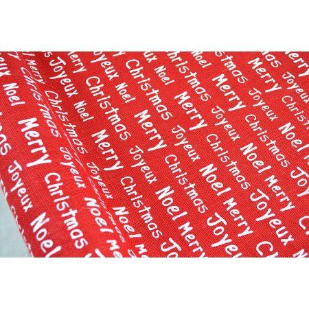 Χριστουγεννιάτικο ύφασμα ΤΣΟΥΒΑΛΙ JOYEUX NOEL Κόκκινο-Λευκό 60cmx5m