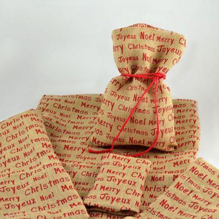 Διακοσμητικό Χριστουγεννιάτικο πουγκί για δώρα φυσικό, Merry Christmas 40x50 cm