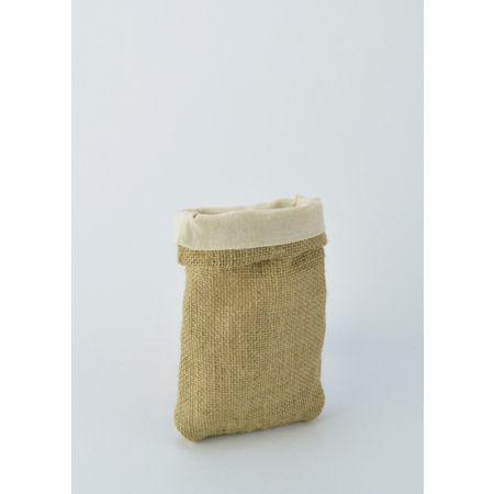 Σετ 2τμχ. Διακοσμητικό Τσουβάλι λινάτσα και λονέτα, 15x21cm