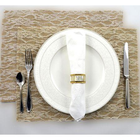 Διακοσμητικό ύφασμα Σουπλά με Δαντέλα Λευκό 35x40cm