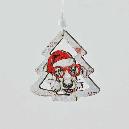 Χριστουγεννιάτικο στολίδι κρεμαστό - Δεντράκι με σκύλο 8cm