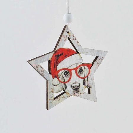 Χριστουγεννιάτικο στολίδι κρεμαστό - Αστέρι με σκύλο 8cm