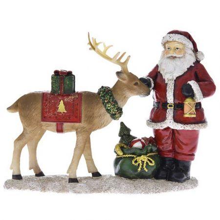 Επιτραπέζιο διακοσμητικό - Άγιος Βασίλης με ελάφι Κόκκινος 19x8x15cm