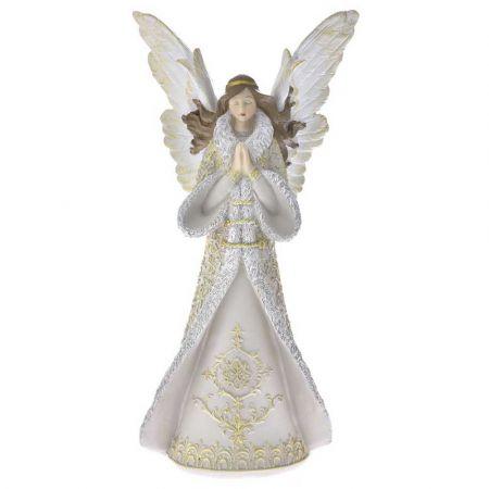 Επιτραπέζιο διακοσμητικό - Άγγελος polyresin Λευκός - Χρυσός 18,5x11,5x38cm