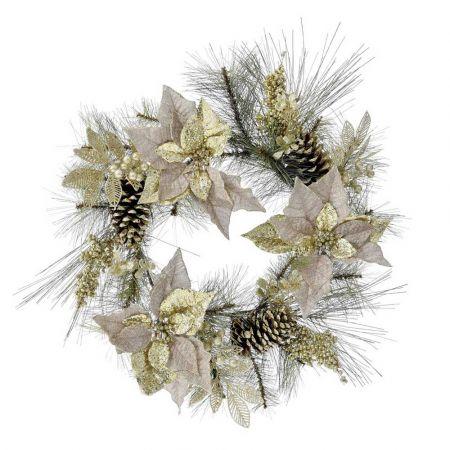 Χριστουγεννιάτικο στεφάνι στολισμένο με Αλεξανδρινά άνθη και κουκουνάρια 60cm