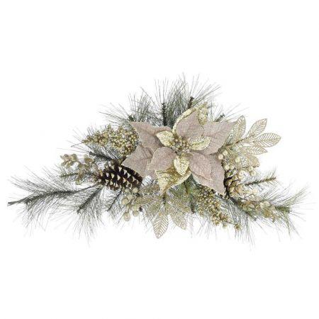 Σύνθεση με πευκοβελόνες, και αλεξανδρινό λουλούδι Χρυσό - Μπεζ 62cm