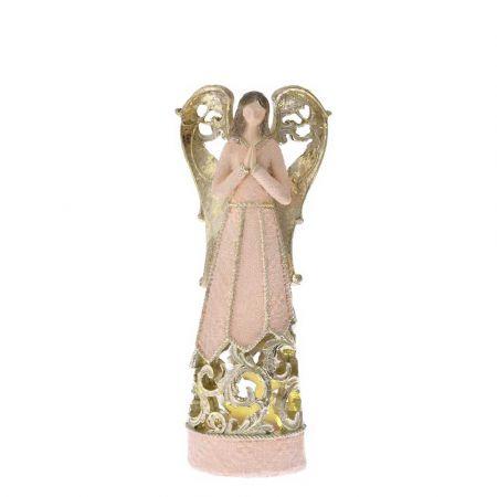 Επιτραπέζιο διακοσμητικό - Άγγελος polyresin με LED Μπεζ - Χρυσός 10x6,5x25cm