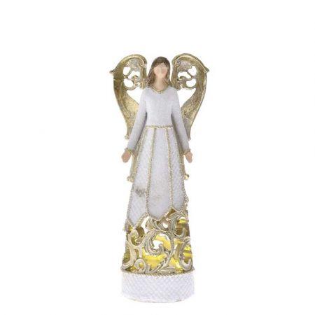 Επιτραπέζιο διακοσμητικό - Άγγελος polyresin με LED Λευκός - Χρυσός 10x6,5x25cm
