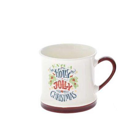 Κούπα κεραμική Holly Jolly Christmas Λευκή - Μπορντό 8,5x8,5cm