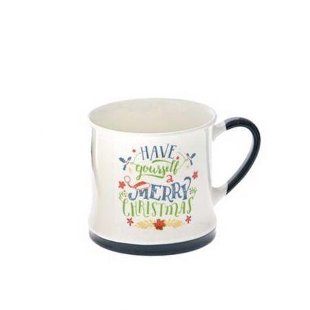 Κούπα κεραμική Have Yourself a Merry Christmas Λευκή - Μπλε 8,5x8,5cm