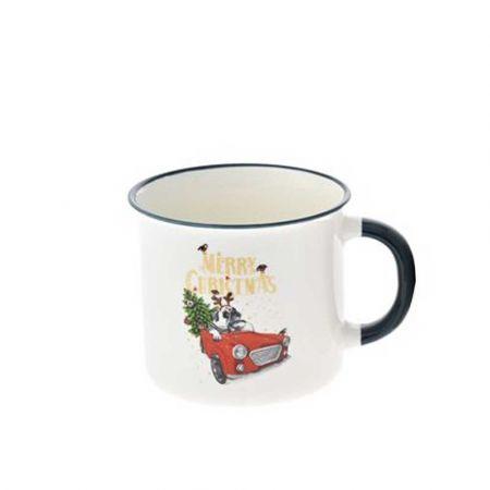Κούπα κεραμική Merry Christmas με αυτοκίνητο Λευκή - Μπλε 9,5x9cm (1)