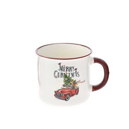 Κούπα κεραμική Merry Christmas με αυτοκίνητο Λευκή - Μπορντό 9,5x9cm (3)