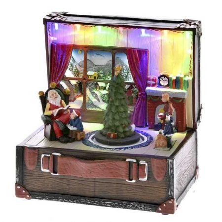 Χριστουγεννιάτικη βαλίτσα με Άγιο Βασίλη με LED μουσική και κίνηση 18x15x19cm