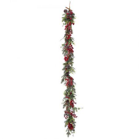 Χριστουγεννιάτικη γιρλάντα στολισμένη με berries και κουκουνάρια 180cm