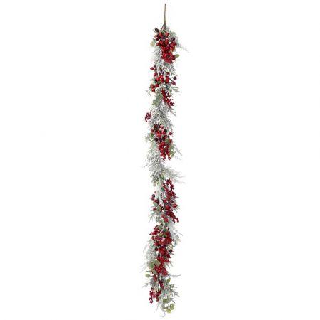 Χριστουγεννιάτικη γιρλάντα στολισμένη με berries και χιονισμένα κλαδιά 180cm