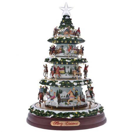 Χριστουγεννιάτικο δέντρο - Carousel 4 επίπεδα με LED μουσική και κίνηση 40x62cm