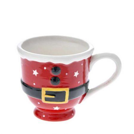 Κούπα κεραμική - Στολή Άγιου Βασίλη Κόκκινη - Λευκή 14x11cm