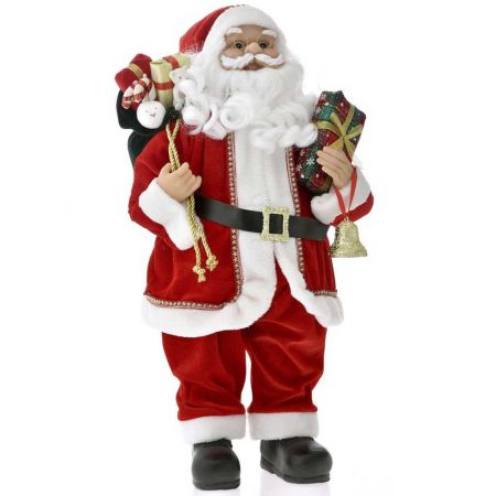 Κλασσική φιγούρα - Άγιος Βασίλης με δώρα Κόκκινος 80cm