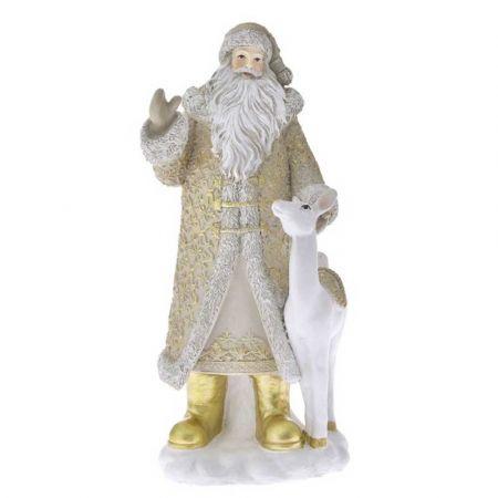 Επιτραπέζιο διακοσμητικό - Άγιος Βασίλης με ελαφάκι Μπεζ - Χρυσό 14x12x30cm