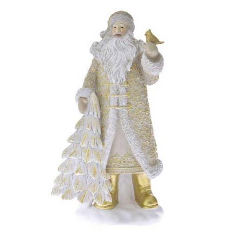 Επιτραπέζιο διακοσμητικό - Άγιος Βασίλης με δεντράκι Μπεζ - Χρυσό 14x12x30cm