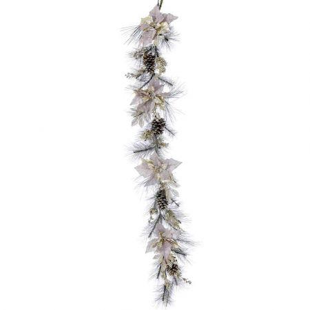 Χριστουγεννιάτικη γιρλάντα στολισμένη με Αλεξανδρινά άνθη και κουκουνάρια 180cm
