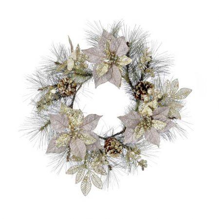 Χριστουγεννιάτικο στεφάνι στολισμένο με Αλεξανδρινά άνθη και κουκουνάρια 40cm