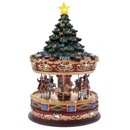 Χριστουγεννιάτικο Carousel με LED μουσική και κίνηση 21x35cm