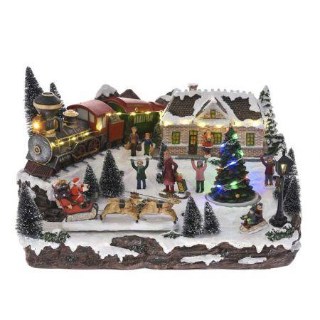 Χριστουγεννιάτικο χωριό με LED μουσική και κίνηση 36x28x23cm