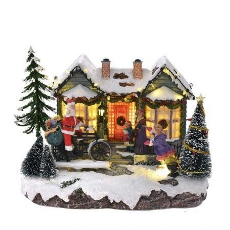 Χριστουγεννιάτικο χωριό με LED μουσική και κίνηση 23x18x18cm