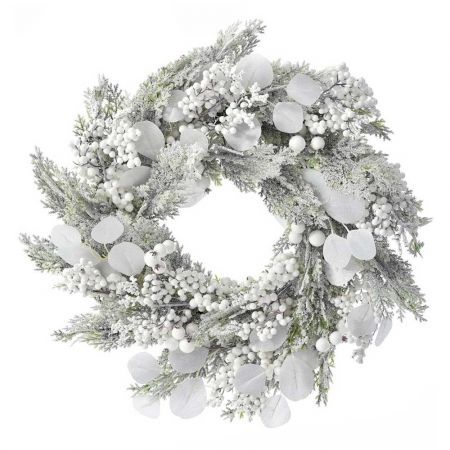 Χριστουγεννιάτικο στεφάνι χιονισμένο με berries και χιονισμένα κλαδιά 50cm