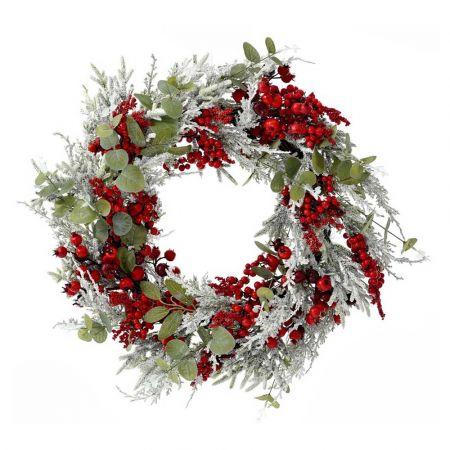 Χριστουγεννιάτικο στεφάνι στολισμένο με berries και χιονισμένα κλαδιά 50cm