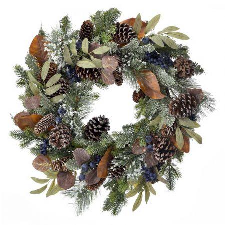 Χριστουγεννιάτικο στεφάνι στολισμένο με berries, κουκουνάρια και φύλλα 50cm