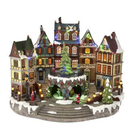 Χριστουγεννιάτικη πόλη με LED μουσική και κίνηση 42x27x33cm