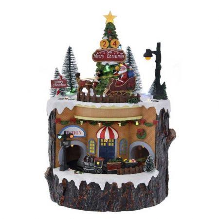 Χριστουγεννιάτικο χωριό με LED μουσική και κίνηση 22x21x32cm