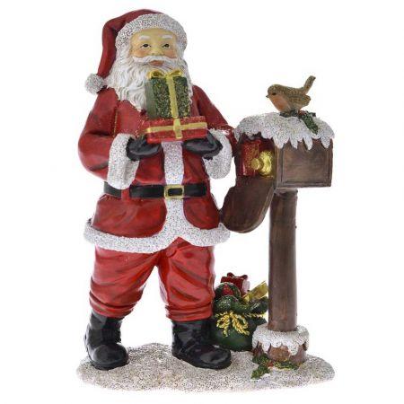 Επιτραπέζιο διακοσμητικό - Άγιος Βασίλης με γραμματοκιβώτιο Κόκκινος 14x9,5x20cm