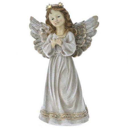 Επιτραπέζιο διακοσμητικό - Άγγελος polyresin με LED Κρεμ - Χρυσός 19x11x31cm