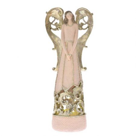 Επιτραπέζιο διακοσμητικό - Άγγελος polyresin με LED Μπεζ - Χρυσός 15,5x9,5x38cm