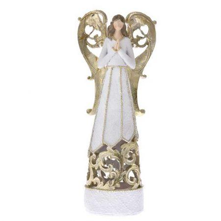 Επιτραπέζιο διακοσμητικό - Άγγελος polyresin με LED Λευκός 15,5x9,5x38cm