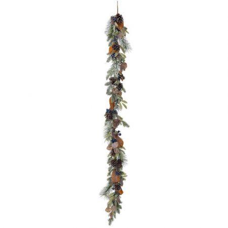 Χριστουγεννιάτικη γιρλάντα στολισμένη με berries, κουκουνάρια και φύλλα 180cm