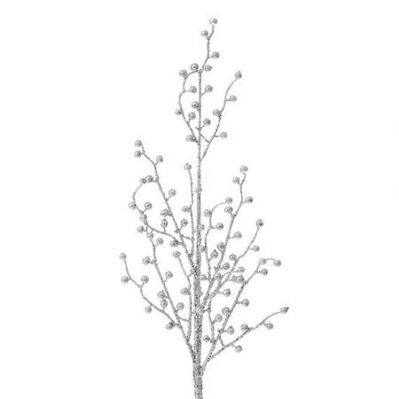 Χριστουγεννιάτικο κλαδί Berries - Γκι με glitter Ασημί 75cm