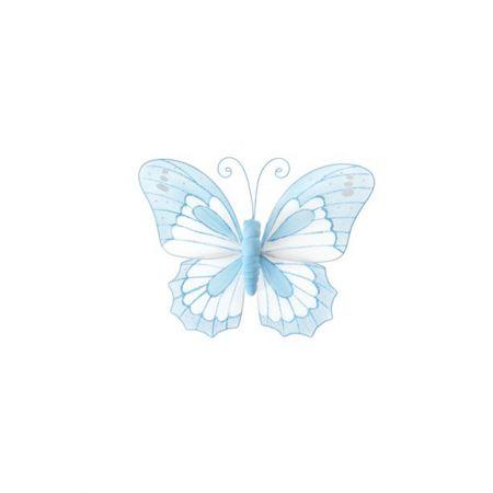 Διακοσμητική πεταλούδα γαλάζια - λευκή, 18x15cm