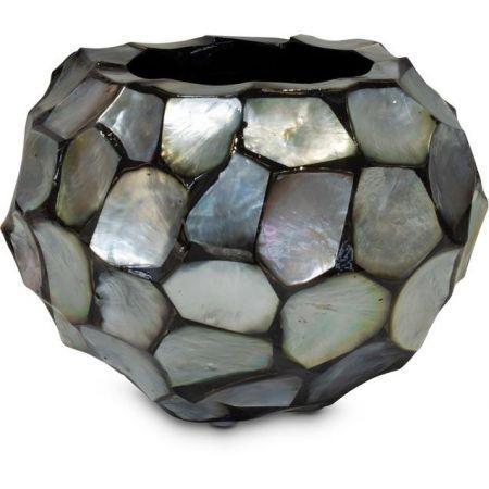 Γλάστρα-Βάζο SHELL με κοχύλια Ασημί-Μπλε 40x21x16cm